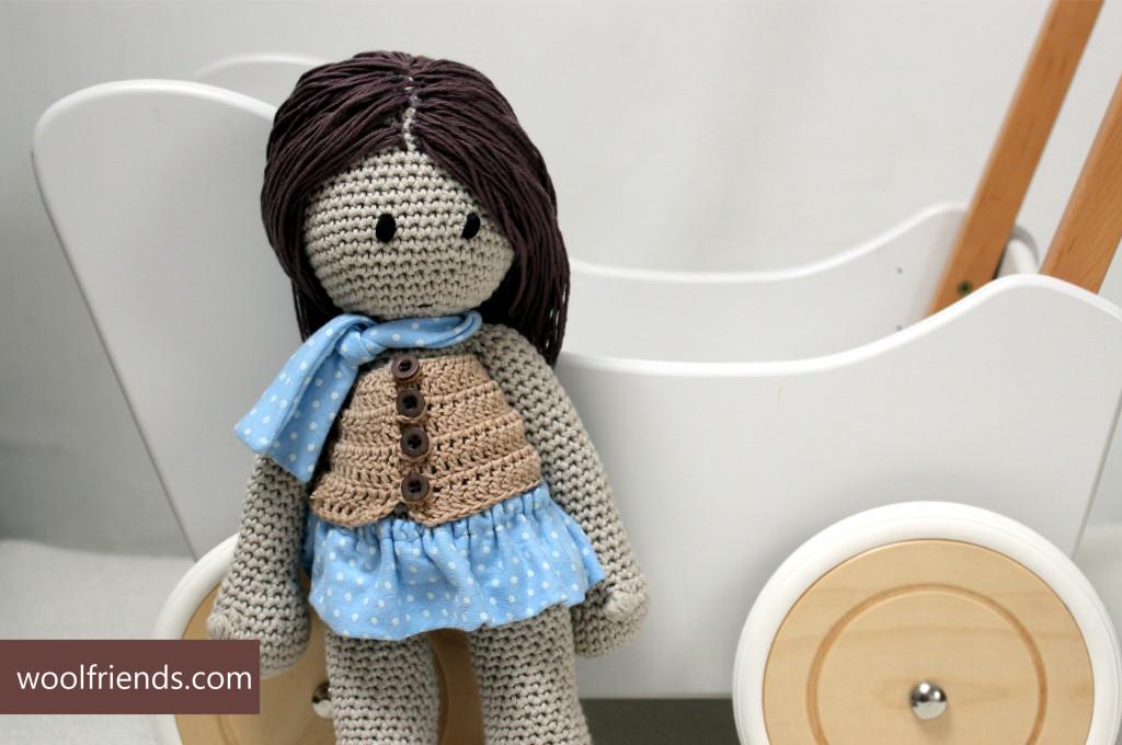 crochet doll blue polka dots skirt